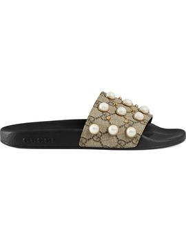 Imitation Pearl Embellished Slide Sandal by Nordstrom