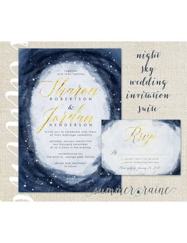 Night Sky Watercolor Wedding Invitation   2 Piece Set   Navy Blue, Gold Foil by Summer Raine