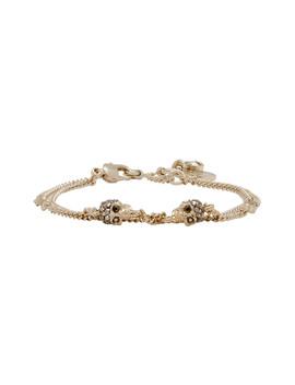 Gold Chain Multi Skull & Stone Bracelet by Alexander Mcqueen