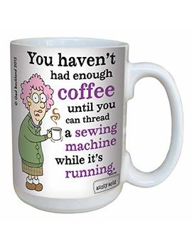 Tree Free Greetings 15 Oz Ceramic Hilarious Aunty Acid Sewing Machine The Backland Studio Mug, Multi Colour by Tree Free Greetings