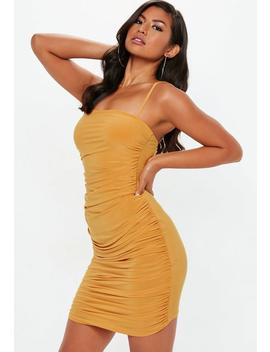 Mustard Strappy Slinky Ruched Bodycon Mini Dress by Missguided
