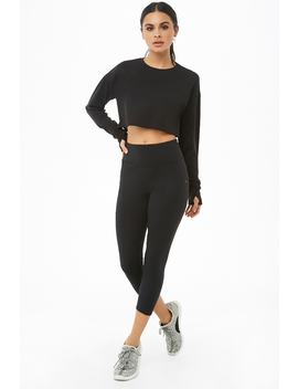Active Zip Pocket Capri Leggings by Forever 21