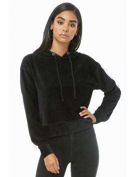 Ribbed Velour Hooded Top by Forever 21