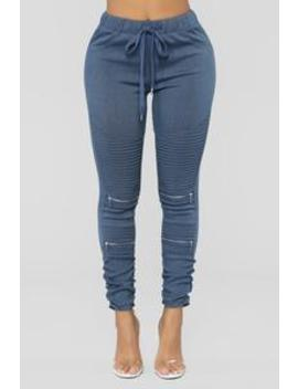 Yvette Moto Joggers   Blue by Fashion Nova