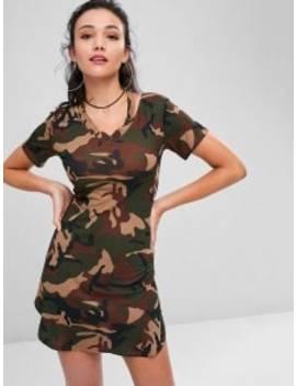 Camo Print Slash V Neck Tee Dress   Acu Camouflage S by Zaful