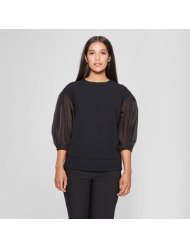 Women's 3/4 Sheer Sleeve Sweatshirt   Prologue™ Black by Prologue™
