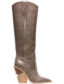 Fendibrown And Blue Cutwalk Check 100 Leather Bootshome Women Fendi Shoes Boots by Fendi
