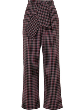 Twin Checked Wool Blend Wide Leg Pants by Paper London