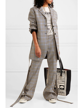 Belted Houndstooth Wool And Cotton Blend Blazer by Jw Anderson