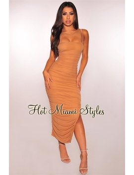 Coffee Ruched Slit Midi Dress by Hot Miami Style