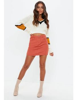 Petite Cream V Neck Cable Colourblock Cropped Jumper by Missguided