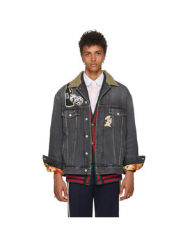 Black Logo Patch Denim Jacket by Gucci