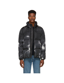 Black Down Fabas Lightning Bolt Jacket by Moncler