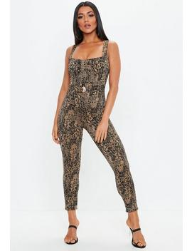Brown Snakeprint Clasp Detail Jumpsuit by Missguided