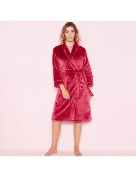 Lounge & Sleep   Dark Pink 'sleek' Fleece Robe by Lounge & Sleep