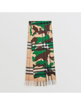 The Classic Camouflage Check Cashmere Scarf by Burberry