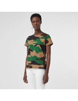 Camouflage Print Cotton Jersey T Shirt by Burberry