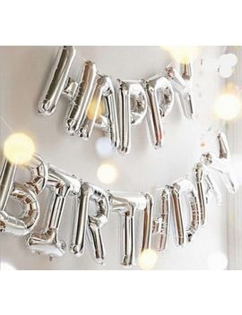 Self Inflating Happy Birthday Banner Balloon Bunting Silver 16 Inch Letters Foil by Ebay Seller