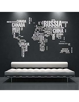 Wall Sticker World Map Text With Country Names   47.2 X 76.4 Inches   120 X 194 Cm by Moonwallstickers