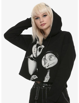 The Nightmare Before Christmas Jack & Sally Black & White Girls Cropped Hoodie by Hot Topic