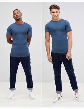 Asos Design Longline Muscle Fit T Shirt With Bound Curved Hem In Blue by Asos Design