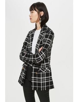 Check Jersey Double Breasted Blazer by Topshop