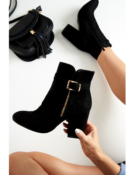 Black Heeled Ankle Boots With Gold Detail   Aamiya by Rebellious Fashion