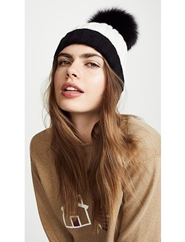 Ribbed Two Tone Hat With Fur Pom by Adrienne Landau