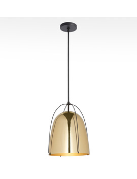 "Haleigh 12"" Lacquered Brass Dome Pendant by Rejuvenation"