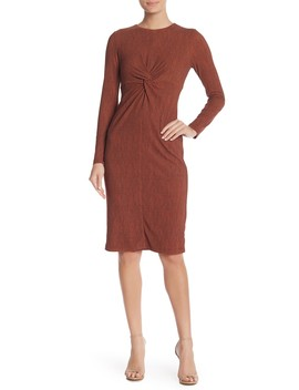 Space Dye Knit Front Twist Dress by Maggy London