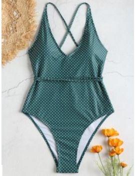 Self Tie Polka Dot One Piece Swimwear   Greenish Blue S by Zaful