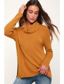 Brant Dark Mustard Cowl Neck Knit Sweater by Olive + Oak