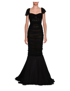 Sweetheart Neck Ruched Tulle Trumpet Evening Gown by Dolce & Gabbana