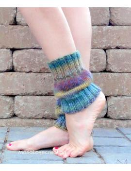 Leg Warmers  Pattern Knit  Legwarmers  Wool Boot Socks  Yoga Socks by Maria Lcreation