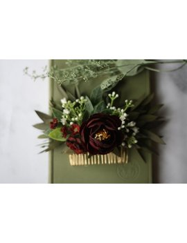 Eucalyptus Hair Comb Greenery Baby Breath Comb Succulent Hair Vine Burgundy Flower Comb  Bridal Hair Piece Flower Hair Comb Floral Hair Pin by Wild Rose And Sparrow