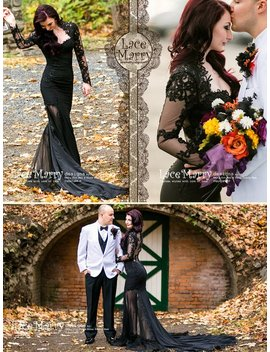 Black Wedding Dress With Sheer Open Back, Buttons And Long Sleeves In Floor Length With Transparent Slits And Train | Renewal Dress by Lace Marry
