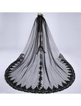 Black Veil Brides, Long Bridal Veil, Unique Veil, Long Black Veil, Cathedral Veil 1 Tier, Chapel Veil, Black Wedding Veil, Free Shipping by Etsy