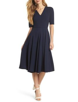 Edith City Crepe Fit & Flare Dress by Nordstrom