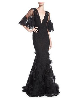 Floral Lace Flutter Sleeve Gown by Marchesa