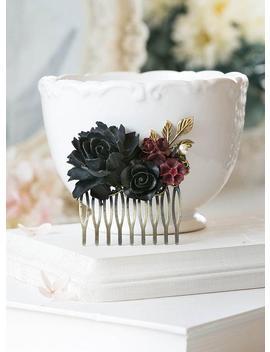 Black Rose Burgundy Dark Red Flowers Hair Comb Black Wedding Bridal Hair Comb Bridesmaid Gift Gothic Wedding Hair Comb Goth Halloween by Le Chaim