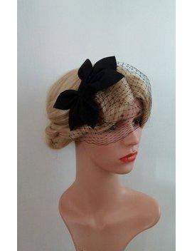 Black Birdcage Veil Fascinator, Black Birdcage Veil Hat, Black Birdcage Veil Headband, Black Wedding Hat, Black Wedding Hair Piece Black by Silk Pearl Design