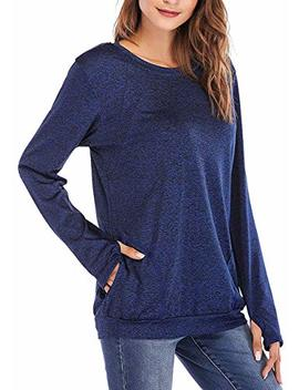 Seunala Women's Casual Solid Shirts Long Sleeve Tunic Tops Round Neck Loose Comfy Pullover With Pockets by Seunala