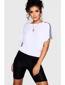 Shirred Sports Stripe Tee by Boohoo
