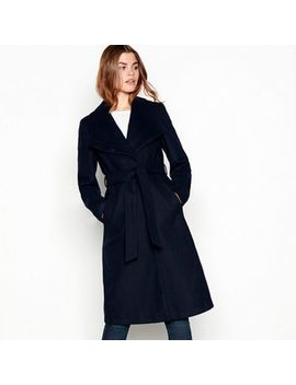 The Collection   Navy Double Collar Belted Coat by The Collection