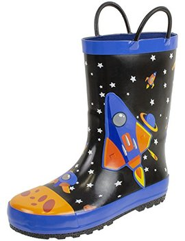 Rainbow Daze Rain Boots For Kids With Easy On Handles, Waterproof, For Toddlers & Little Kids, Age 2 To 9 by Rainbow Daze