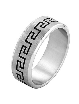 Men's West Coast Jewelry Stainless Steel Laser Etched Greek Key Band Ring by West Coast Jewelry