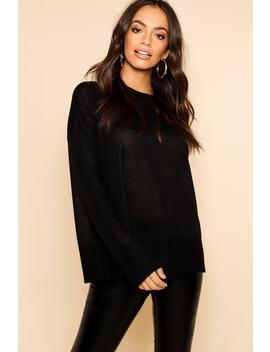 Long Line Ribbed Tunic With Roll Neck by Boohoo