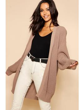 Slouchy Oversized Balloon Sleeve Cardigan by Boohoo