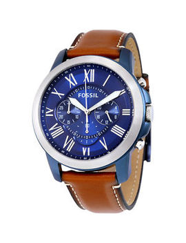 New! Fossil Mens Grant Brown Leather Strap Blue Chronograp<Wbr>H Dial Watch Fs5151 by Ebay Seller