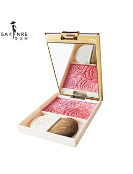 Brand Cosmetic Luxury 3 Color Rose Blusher Palette Sleek Cheeks Contour Matte Powder Orange Baked Blush Powder With Brush Mirror by Sakinre